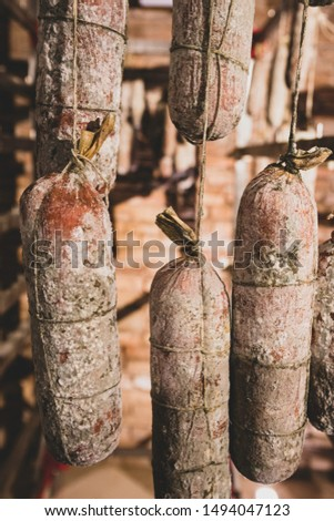 Typical italian salami hanging on a delicatessen shop.