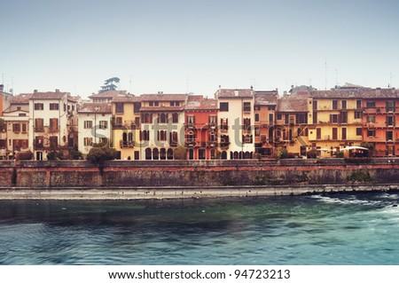 Typical Italian Townhouses In Verona`S Old Town. (Veneto, Italyverona town