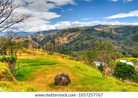 Typical landscape around Alajuela province, Costa rica