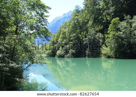 Typical landscape in the Alps with lake and mountains- Austria