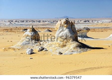 Typical landscape in the White desert, Sahara, Egypt. Sand and unusual limestone formation