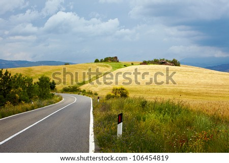 Typical landscape in Val d'Orcia ( Tuscany, Italy) at summer. Road .