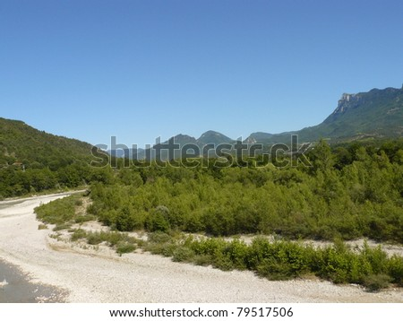 Typical landscape of south of France, Drome, Rhone, Alps: Drome river