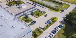 Typical light industrial and small business office viewed from above. Aerial to view