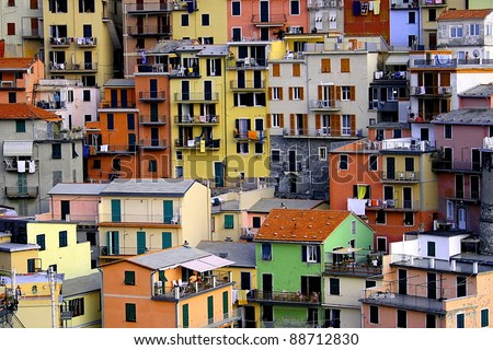 Typical ligurian houses at Manarola, Cinque Terre, Italy.