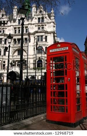 Typical London phone booth on Leicester Square - symbol of Great Britain.