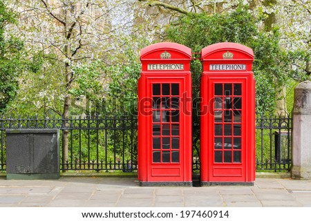 Typical London Red Telephone Boxes in London
