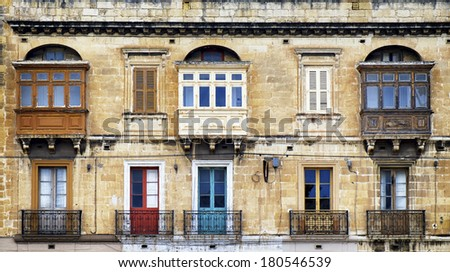 Typical Maltese covered balconies in Valletta