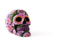 Typical Mexican skull painted isolated on white background.Copyspace. Dia de los muertos.