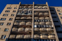 typical mid-russian silicate brick high rise condominium residential building