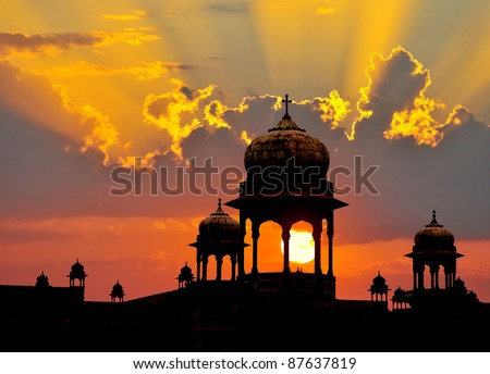 Typical Mogul design palace domes at sunset, Rajasthan, India.