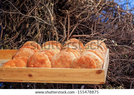 Typical Moroccan cheap bread, placed in a wooden box