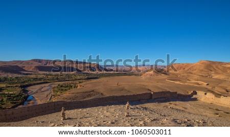 typical Moroccan landscape - desert in the area Ajt Bin Haddu Stock fotó ©