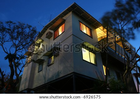 Typical neo-Australian townhouse at night