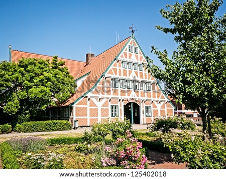 typical old half timbered facade at the altes land near hamburg - germany