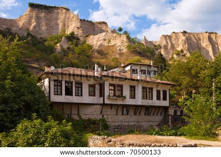 Typical old house in the historic town of Melnik, Bulgaria.
