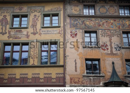 Typical painted buildings from Lucerne, Switzerland