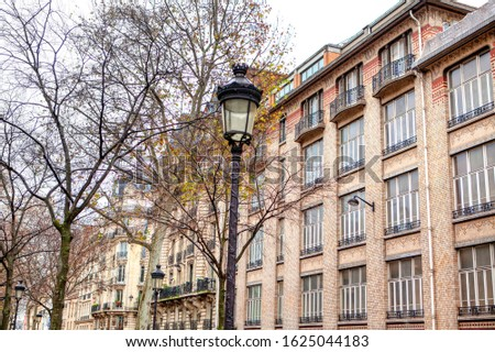 typical parisian facades of residential houses