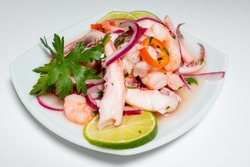 Typical Peruvian food, squid ceviche, shrimp and white fish with purple onion and a good tiger milk. Served on a small square white plate. Side view.