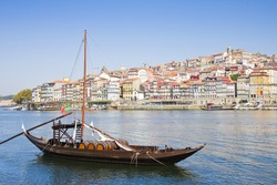 Typical portuguese boats used in the past to transport the famous port wine (Portugal - Europe)