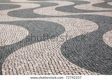 "Typical Portuguese ""calcada"" mosaic cobble stone paving, Lisbon, Portugal. Identical paving also found in Copacabana and Ipanema in Rio de Janeiro, Brazil, the venue for the 2016 Olympic Games."