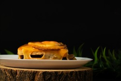 Typical portuguese dish: francesinha with french fries.