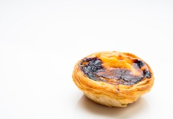 typical Portuguese egg tart pastries, on a white background