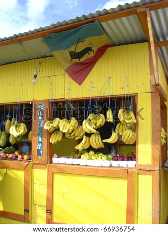 typical produce fruit stand market in Scarborough Tobago Trinidad with fresh produce fruits vegetables