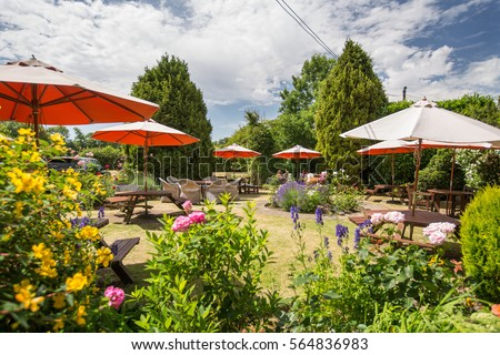 Typical pub garden in England on a summers day