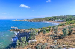 Typical Puglia sea with trebuchet, watchtower, cliff e sandy beach on Gargano promontory in southern Italy.