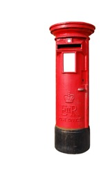 typical red british postbox isolated on white background