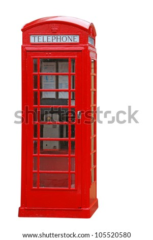 typical red british telephone booth isolated on white background