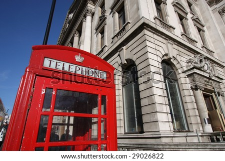 Typical red London phone booth - symbol of Great Britain.