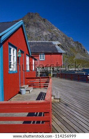 Typical red rorbu fishing huts on Lofoten islands in Norway