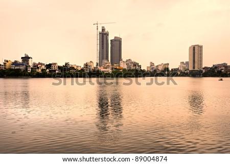Typical residential buildings in Hanoi, Vietnam. - stock photo