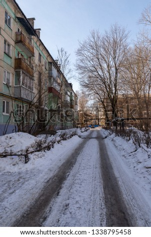 Typical road in a typical Russian courtyard