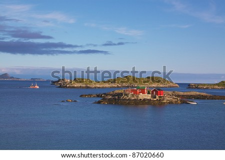 "Typical ""rorbu"" fisherman house on Lofoten Islands, Norway"