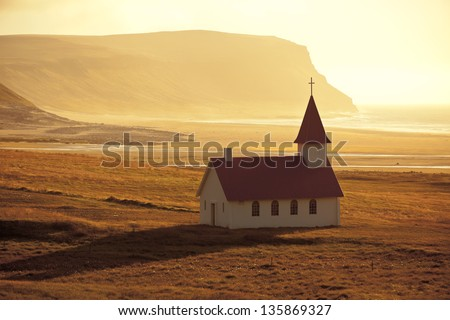 Typical Rural Icelandic Church at Sea Coastline. Horizontal shot #135869327