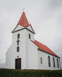 Typical Rural Icelandic Church on a cloudy day.