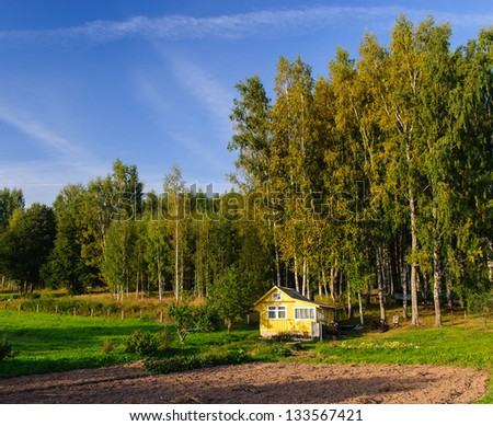 Typical Russian country house on a sunny summer day