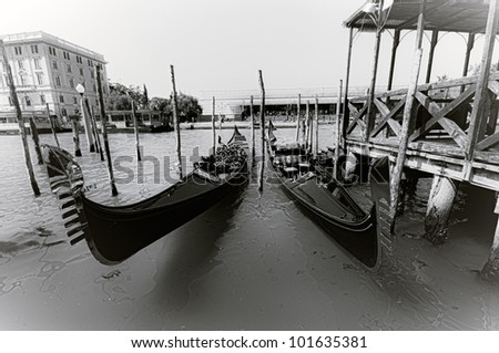 Typical scene of a Gondola on the Grand canal in Venice, Italy
