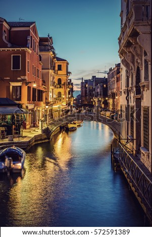 typical small venetian canal in ...