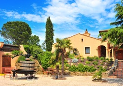 Typical small vineyard chateau in Provence, Cote d�Azur, Alpes Maritimes, Southern France