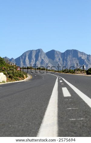 Typical South African mountain road in summer, shallow dof with copy space