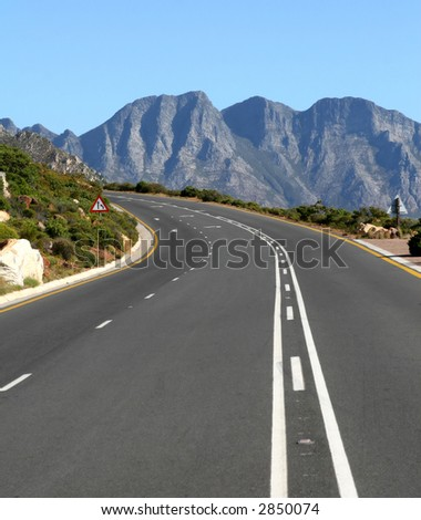 typical south african mountain road outdoors in summer