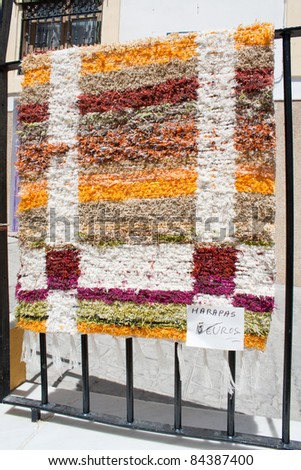 Typical Spanish handmade rug for sale in the village of Nijar, Almeria, Andalusia, Spain.