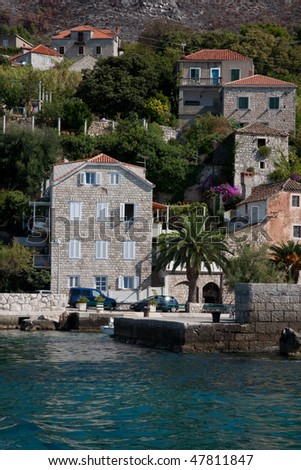 Typical stone houses on coastline of Croatia near Dubrovnik