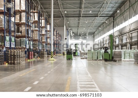 Typical storage, warehouse interior. Selective focus.