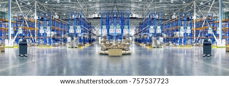 Typical storage, warehouse interior. Selective focus. Toned collage. Background. Copy space. #757537723