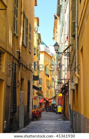 Typical street in Nice, France